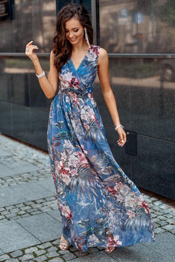 Niebieska kwiatowa sukienka V-Neck maxi Christelle
