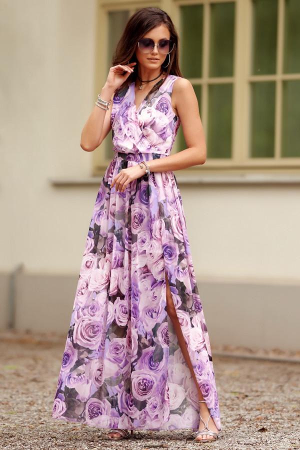Jasnofioletowa kwiatowa sukienka V-Neck maxi Christelle