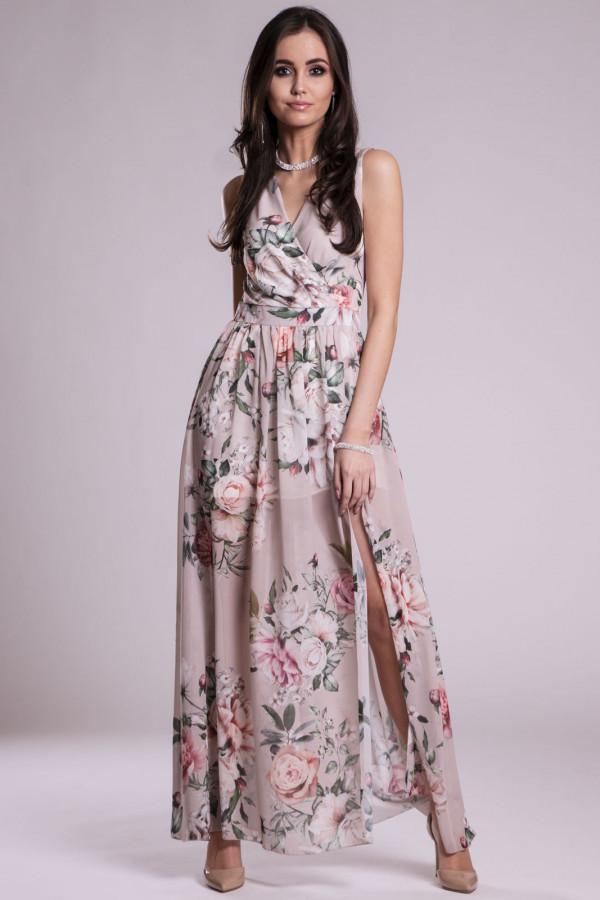 Beżowa kwiatowa sukienka V-Neck maxi Christelle