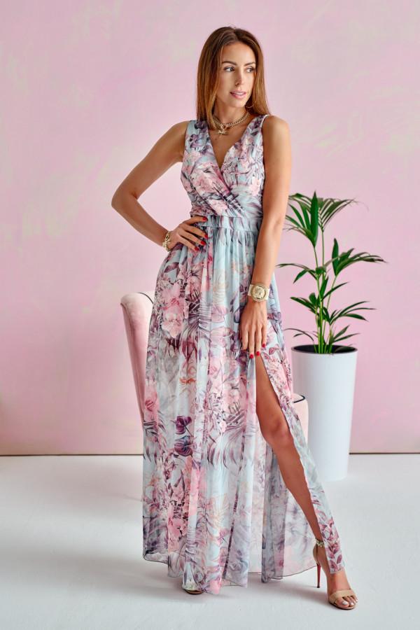 Niebiesko-różowa kwiatowa sukienka V-Neck maxi Christelle