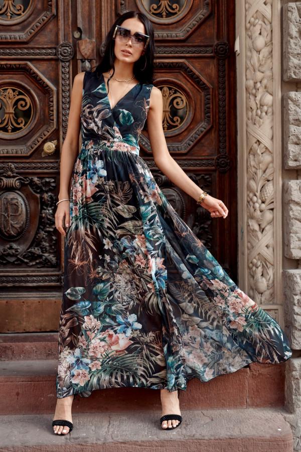 Czarno-zielona kwiatowa sukienka V-Neck maxi Christelle