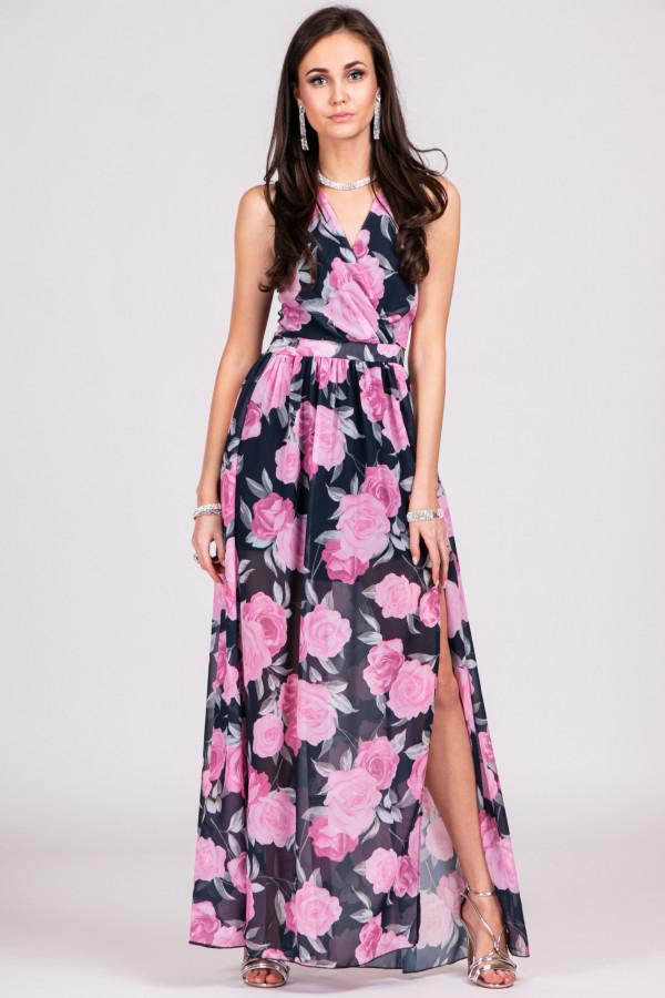 Czarno-różowa kwiatowa sukienka V-Neck maxi Christelle