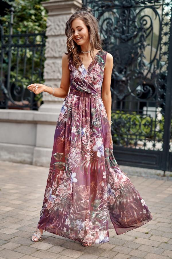 Wrzosowa kwiatowa sukienka V-Neck maxi Christelle