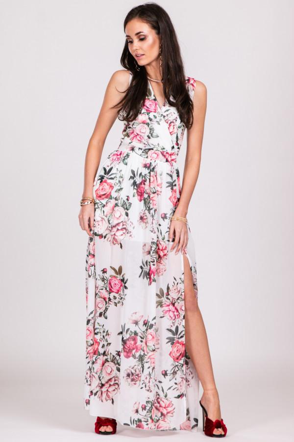 Biało-różowa kwiatowa sukienka V-Neck maxi Christelle