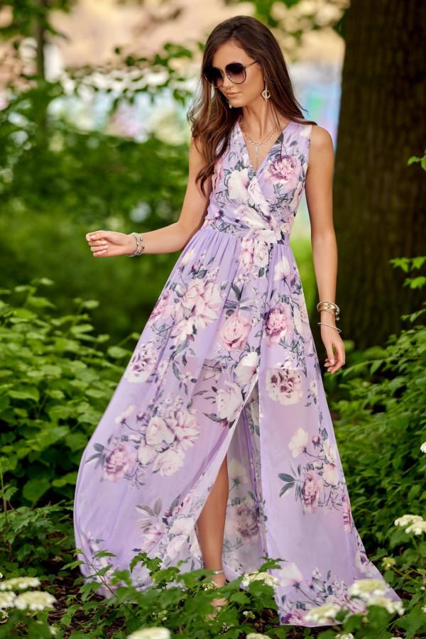 Lawendowa kwiatowa sukienka V-Neck maxi Christelle