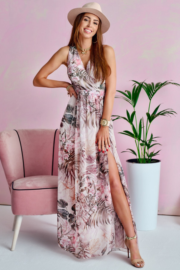 Jasnoróżowa kwiatowa sukienka V-Neck maxi Christelle