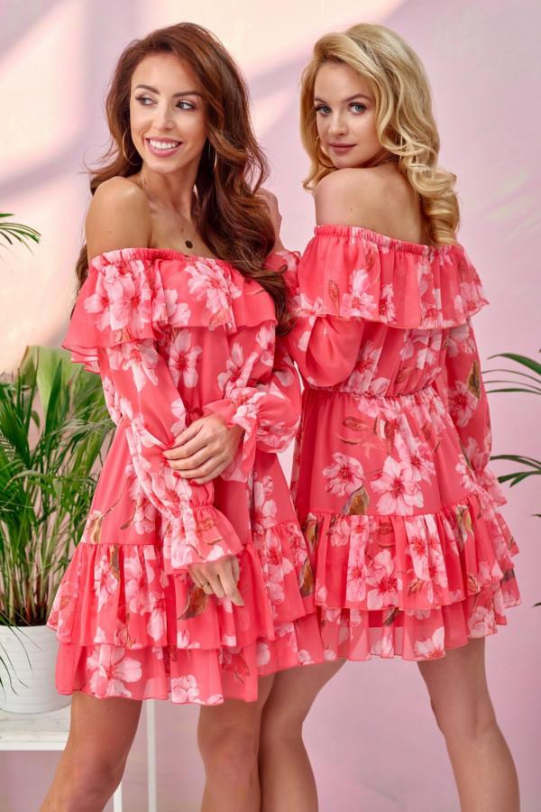Różowa kwiatowa sukienka hiszpanka z falbankami Cosette