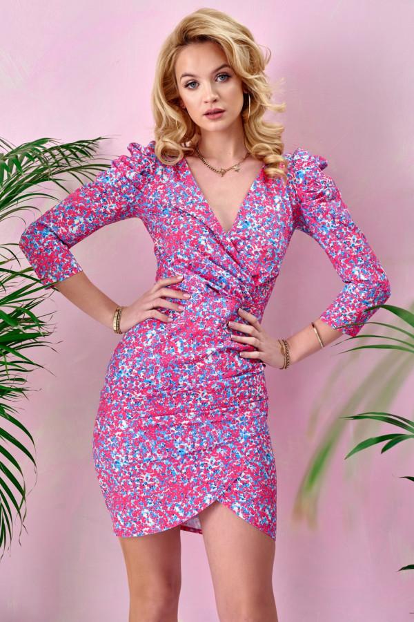 Różowa kwiatowa kopertowa sukienka V-Neck Dalila