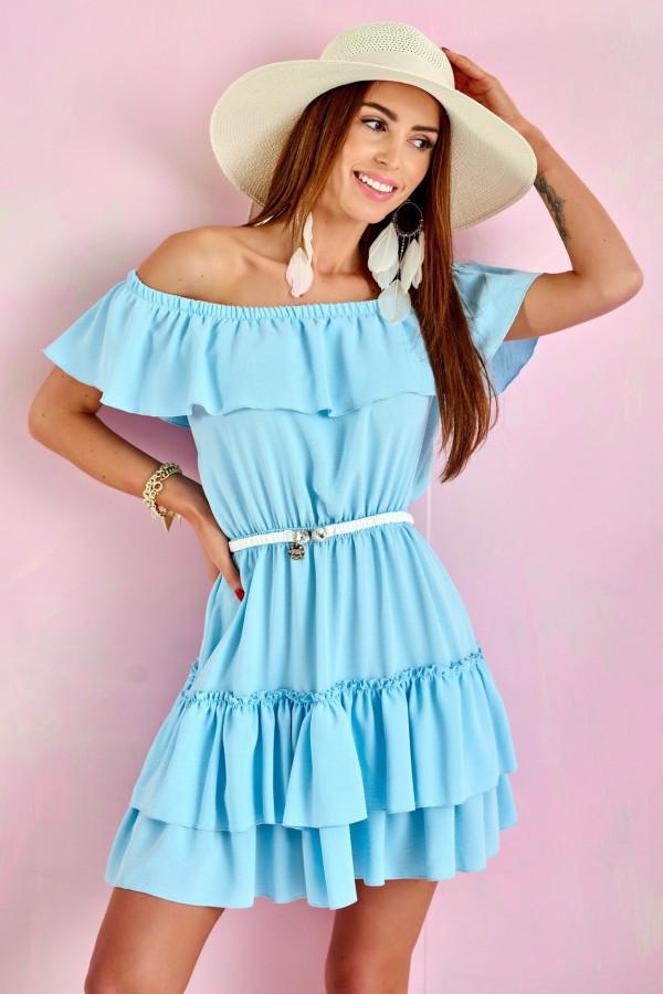 Jasnoniebieska sukienka hiszpanka z falbanką Emy