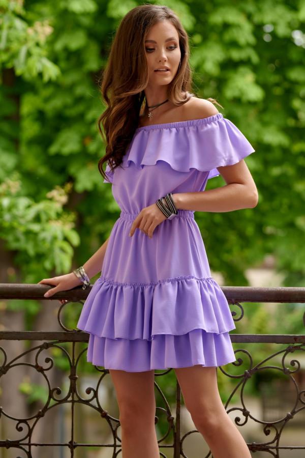 Fioletowa sukienka hiszpanka z falbanką Emy
