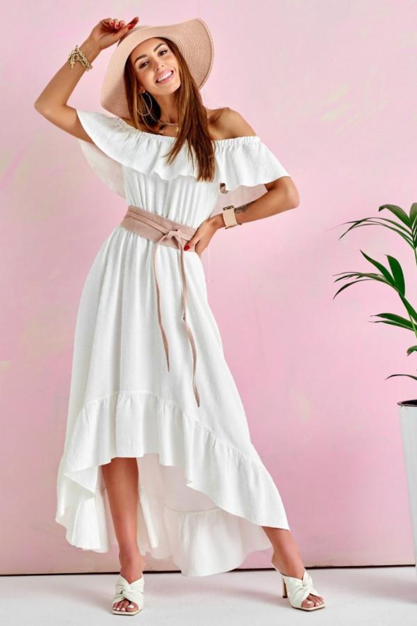 Ecru sukienka hiszpanka asymetryczna z falbankami midi Maryse