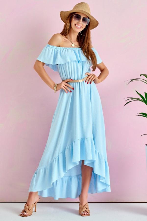 Jasnoniebieska sukienka hiszpanka asymetryczna z falbankami midi Maryse