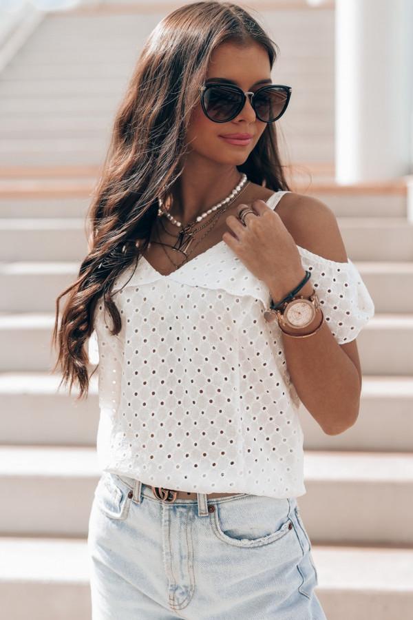 Biała bawełniana ażurowa bluzka hiszpanka Clarisse