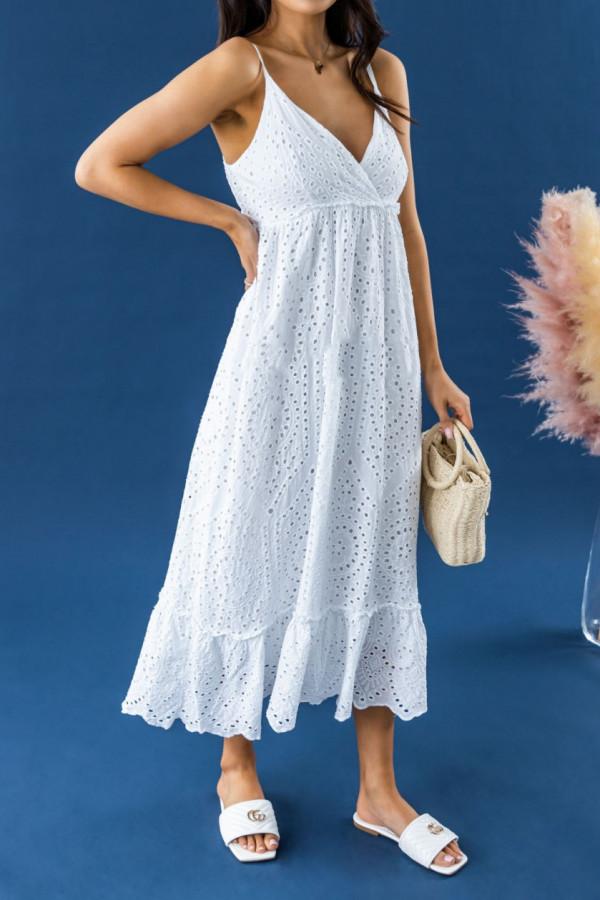 Biała ażurowa sukienka na ramiączkach V-Neck maxi Dorothe