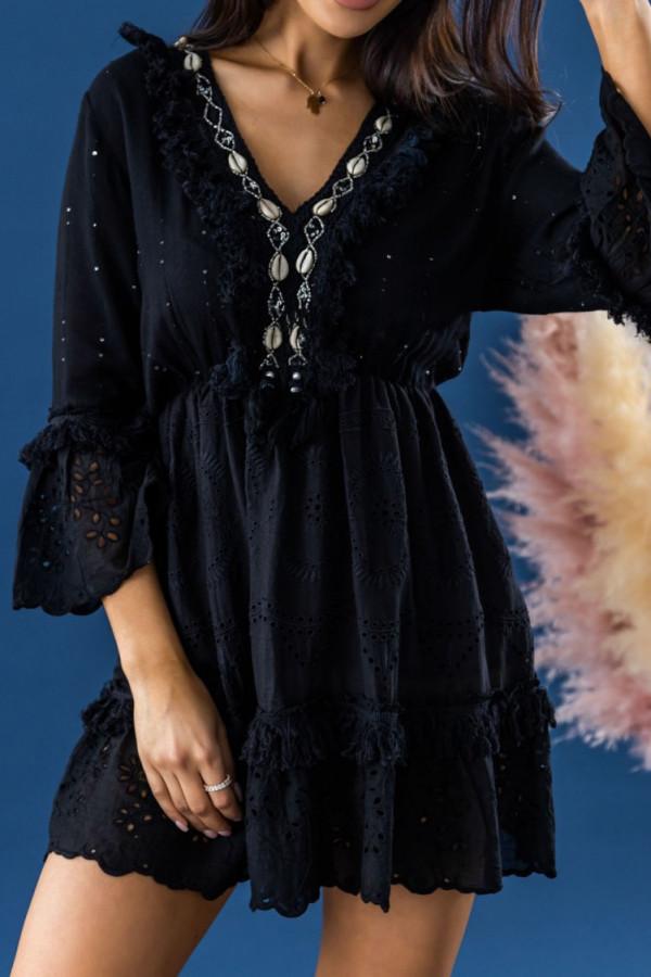 Czarna ażurowa rozkloszowana tunika boho z muszelkami Rebecca