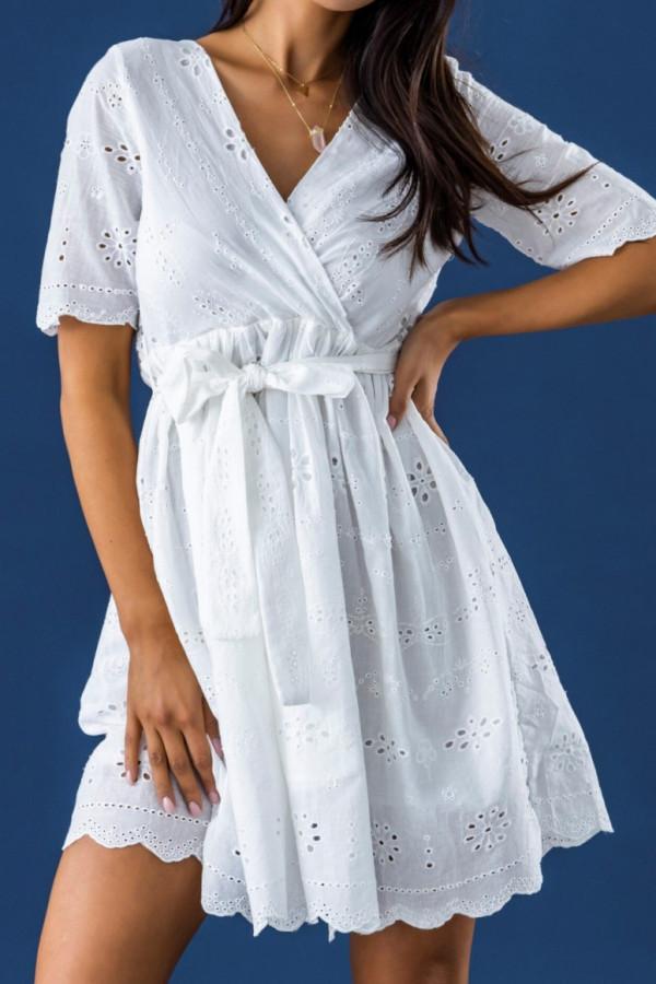 Biała ażurowa rozkloszowana sukienka z krótkim rękawkiem Olive