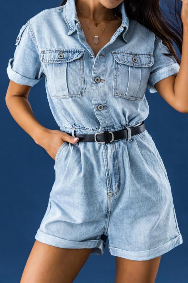 Niebieski jeansowany krótki kombinezon Hestia