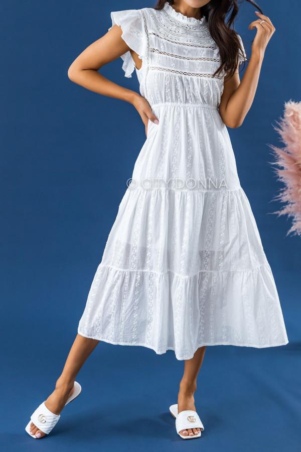 Biała długa sukienka ażurowa z falbankami maxi Grace