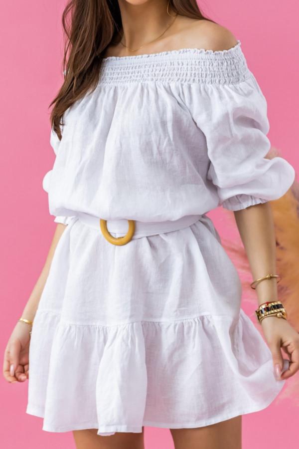 Biała rozkloszowana sukienka hiszpanka z paskiem Skyler