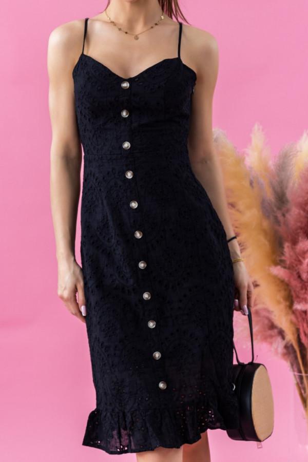 Czarna ażurowa sukienka dopasowana milkmaid z falbanką Scarlett