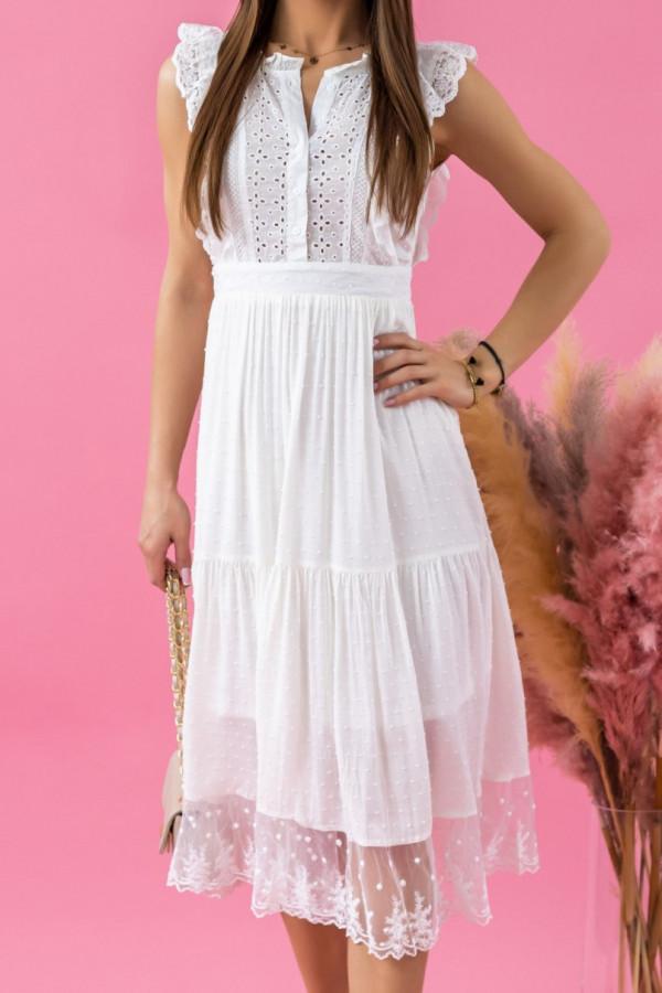 Biała sukienka ażurowa wykończona koronką midi Eliana