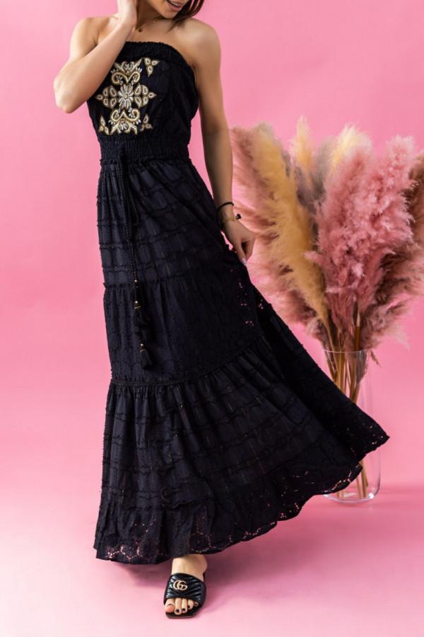 Czarna sukienka hiszpanka koronkowa z haftem maxi Aubrey