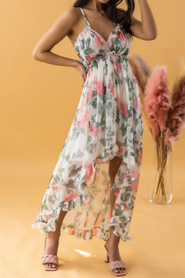 Ecru-różowa sukienka kwiatowa asymetryczna maxi na ramiączkach Harper