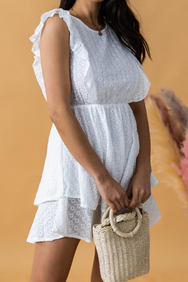 Biała rozkloszowana sukienka ażurowa z falbanką Federica
