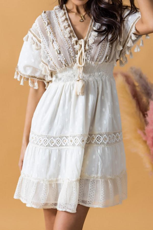 Beżowa sukienka rozkloszowana boho z haftem Silvia