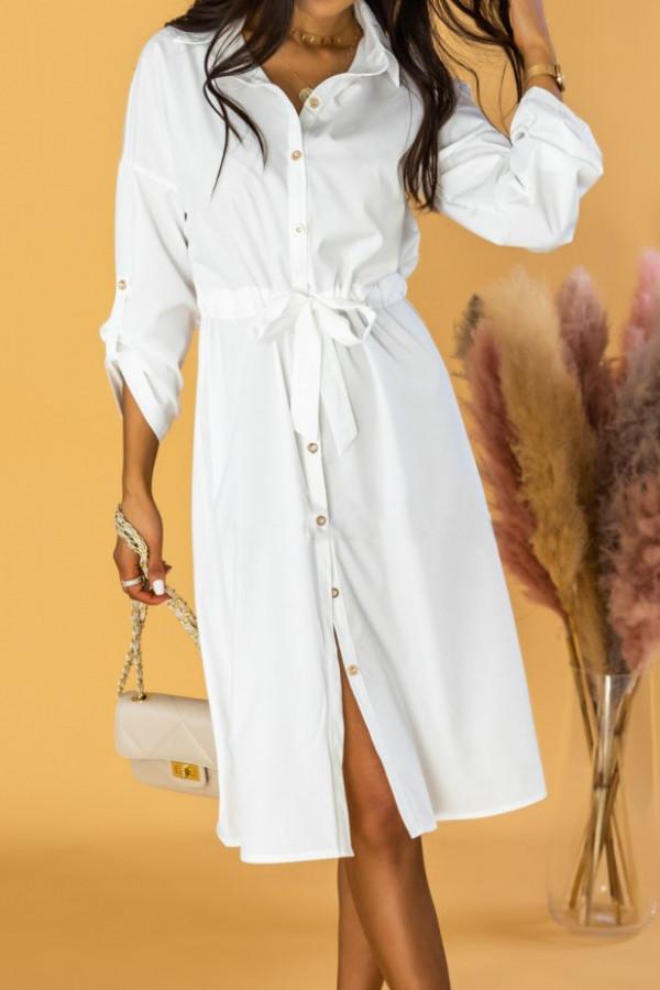 Biała koszulowa sukienka z wiązaniem Marcelina