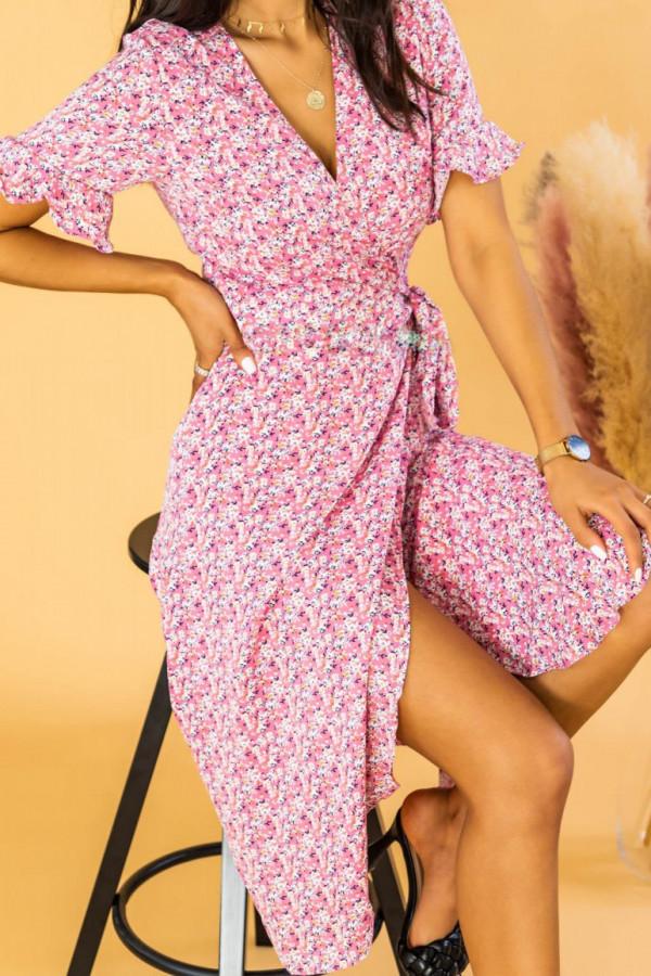 Różowa sukienka kopertowa kwiatowa midi Nela