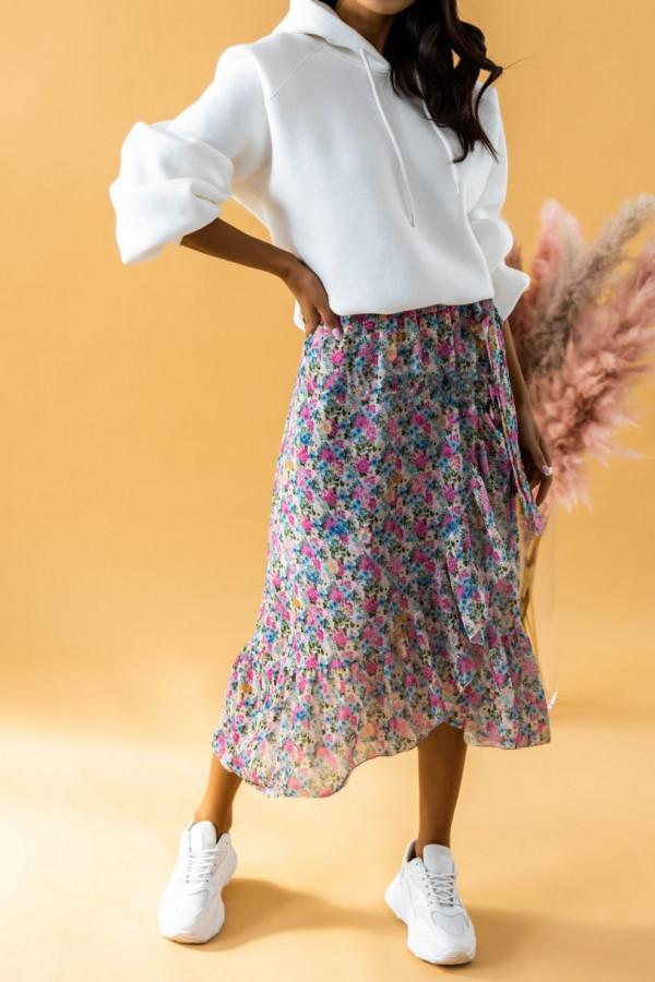 Różowo-niebieska kwiatowa spódnica midi z falbankami Marcella