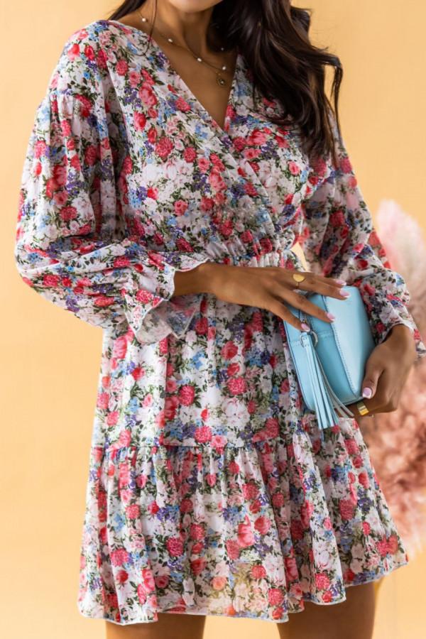 Czerwona sukienka kwiatowa rozkloszowana V-Neck Emilia