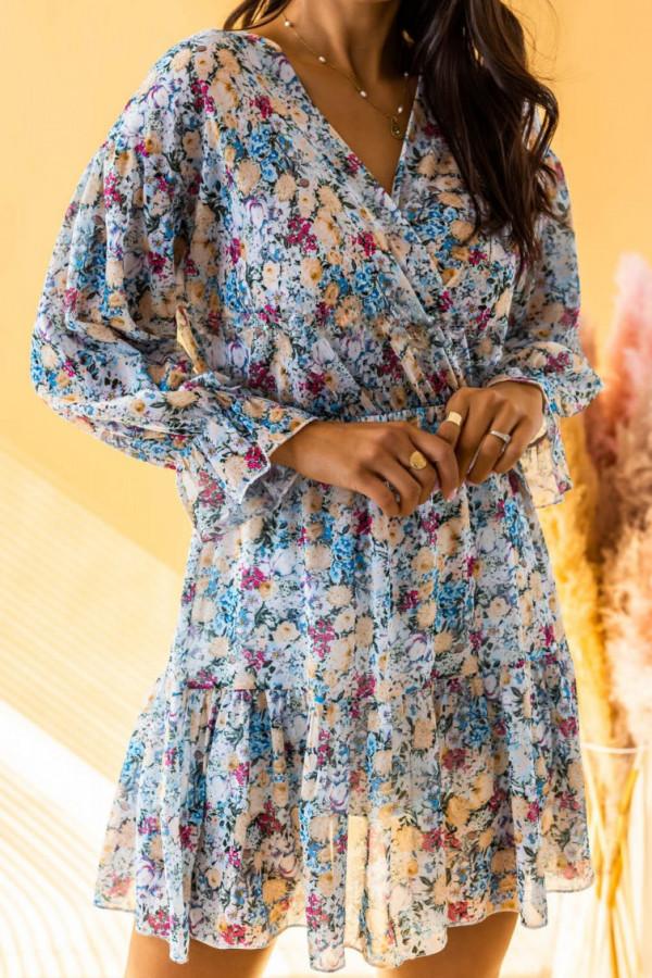 Niebieska sukienka kwiatowa rozkloszowana V-Neck Emilia