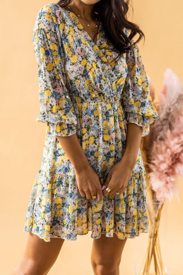 Żółta sukienka kwiatowa rozkloszowana V-Neck Emilia