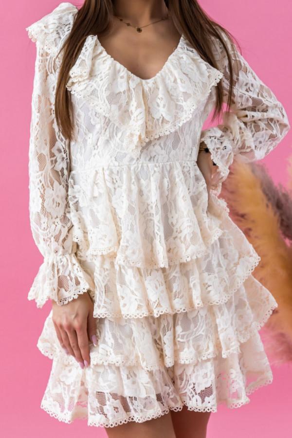 Ecru sukienka koronkowa rozkloszowana z falbankami Novia