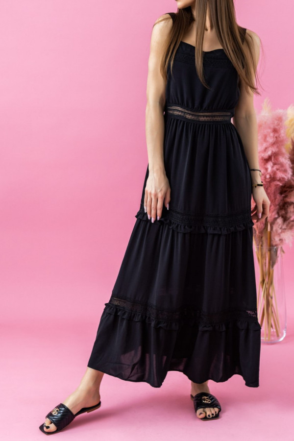 Czarna sukienka ażurowa maxi Patricia
