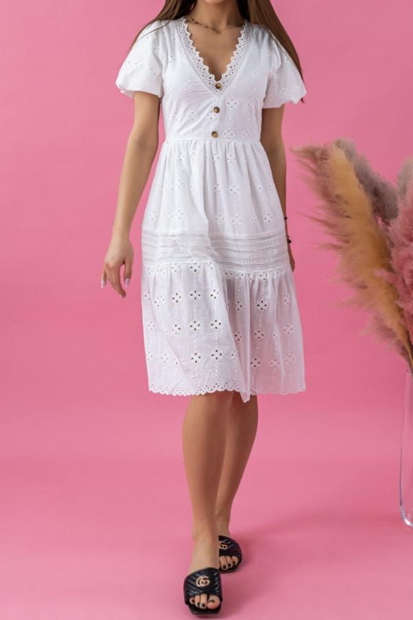 Biała ażurowa sukienka boho V-Neck Rosita
