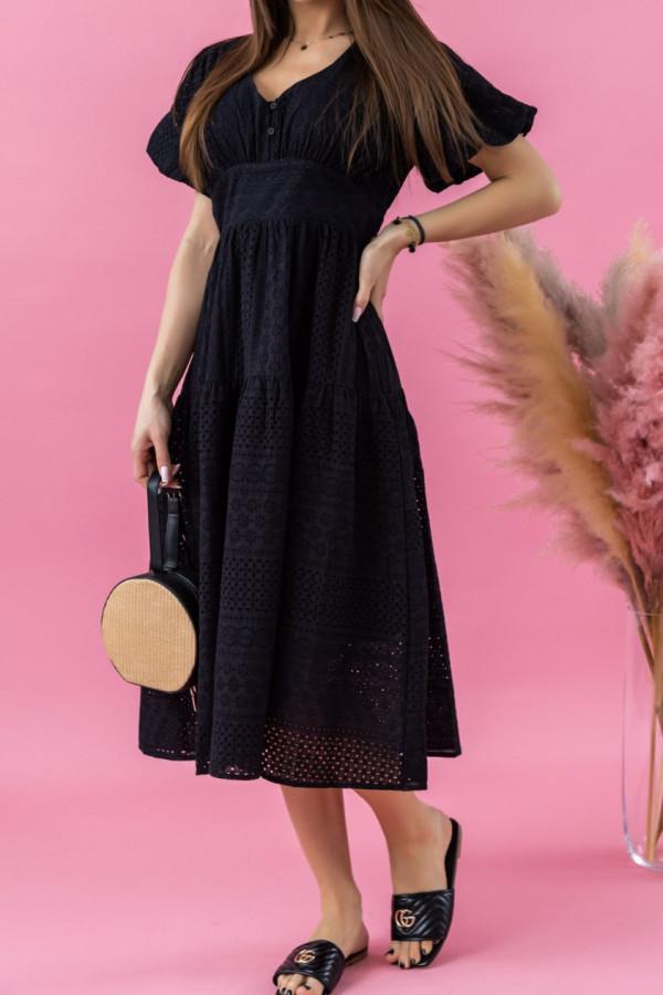 Czarna ażurowa sukienka boho midi Isabella