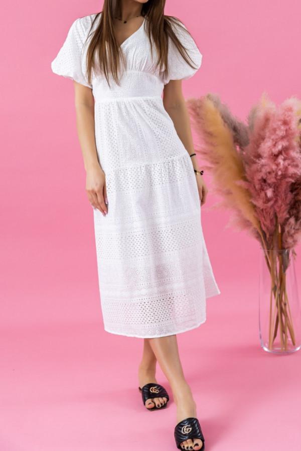 Biała ażurowa sukienka boho midi Isabella