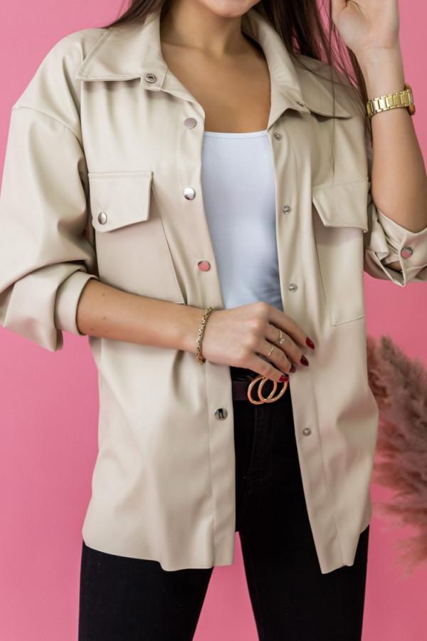 Beżowa koszula z eko skóry Leather
