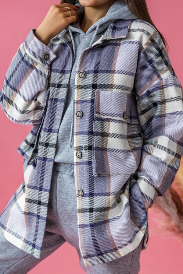 Fioletowa długa koszula w kratkę Shamless