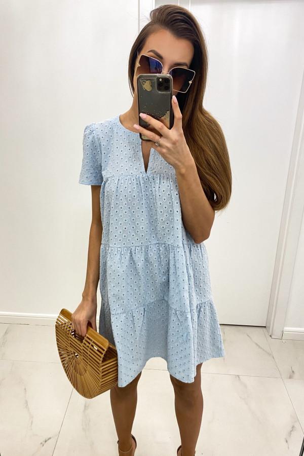 Jasnoniebieska boho sukienka rozkloszowana ażurowa Liana