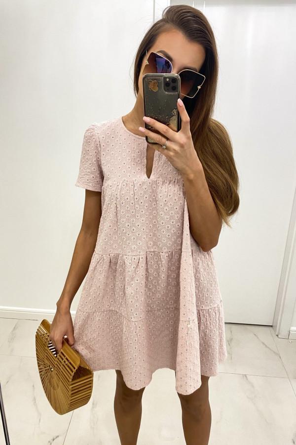 Pudrowo różowa boho sukienka rozkloszowana ażurowa Liana
