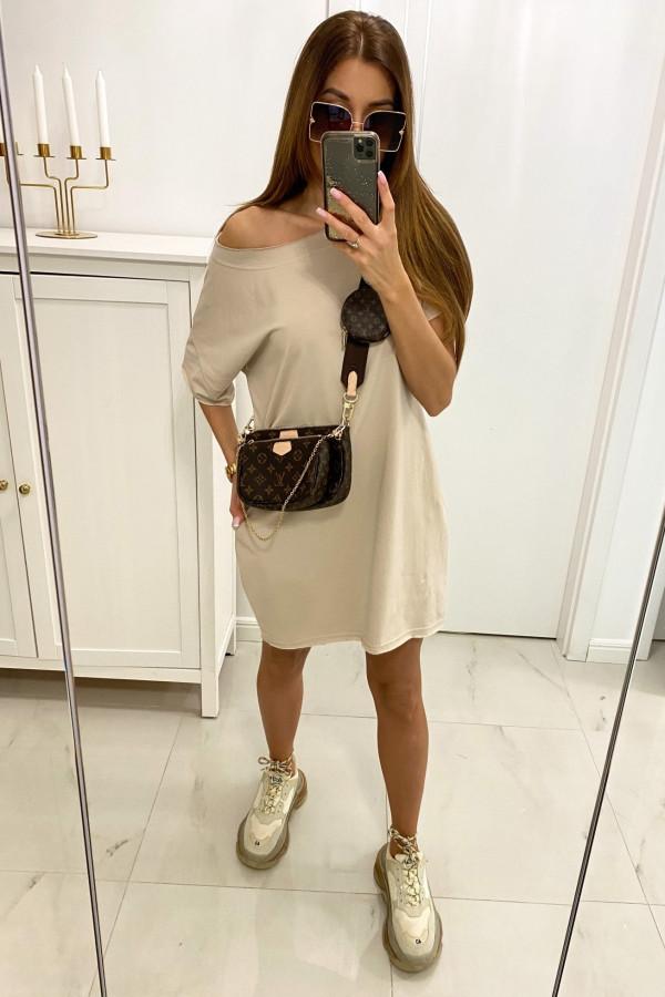 Beżowa klasyczna luźna sukienka Ornella