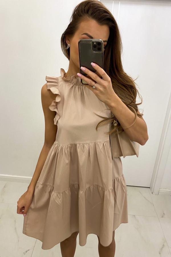 Beżowa sukienka rozkloszowana z falbankami boho Tullia