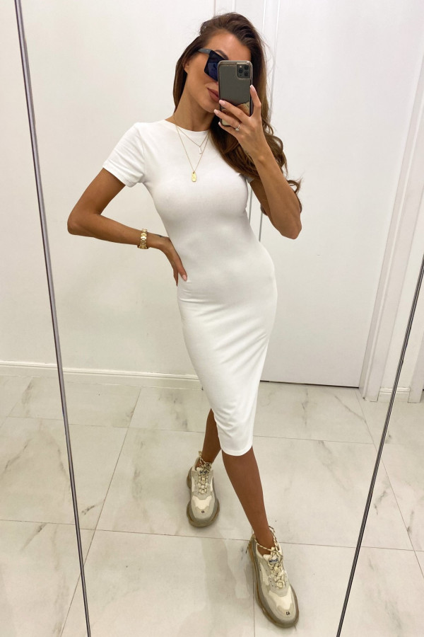 Biała dopasowana sukienka midi z krótkim rękawem Camille