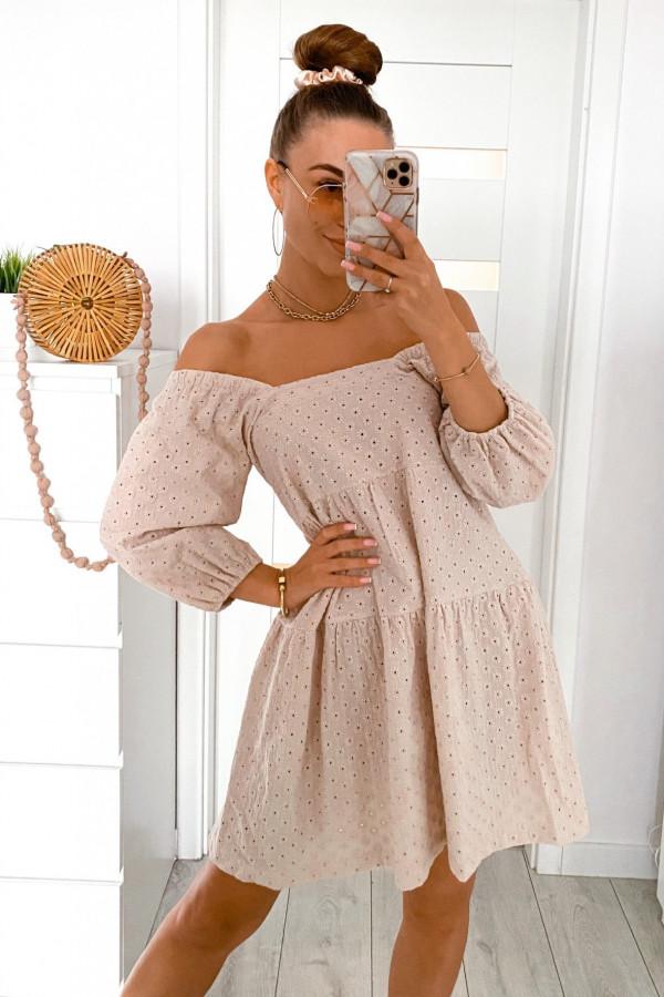 Beżowa ażurowa sukienka hiszpanka Juliana