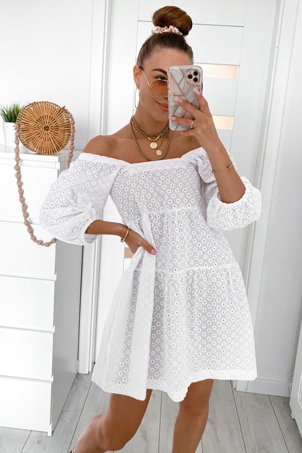 Biała ażurowa sukienka hiszpanka Juliana