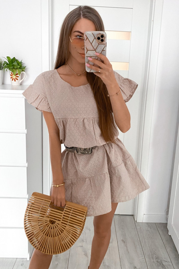 Beżowa sukienka haftowana oversize Melania